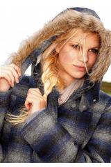 Vlněná bunda s kapucí a kožíškem AJC (vel.36 skladem)