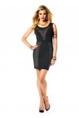 MELROSE krátké černé pouzdrové šaty s nýtky