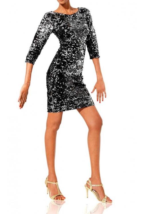 Zeštíhlující flitrové třpytivé šaty CLASS INTERNATIONAL délka mini (vel.34,38 skladem)