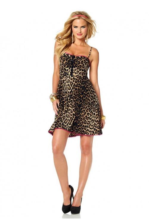 Melrose, šaty s leopardím vzorem a krajkou