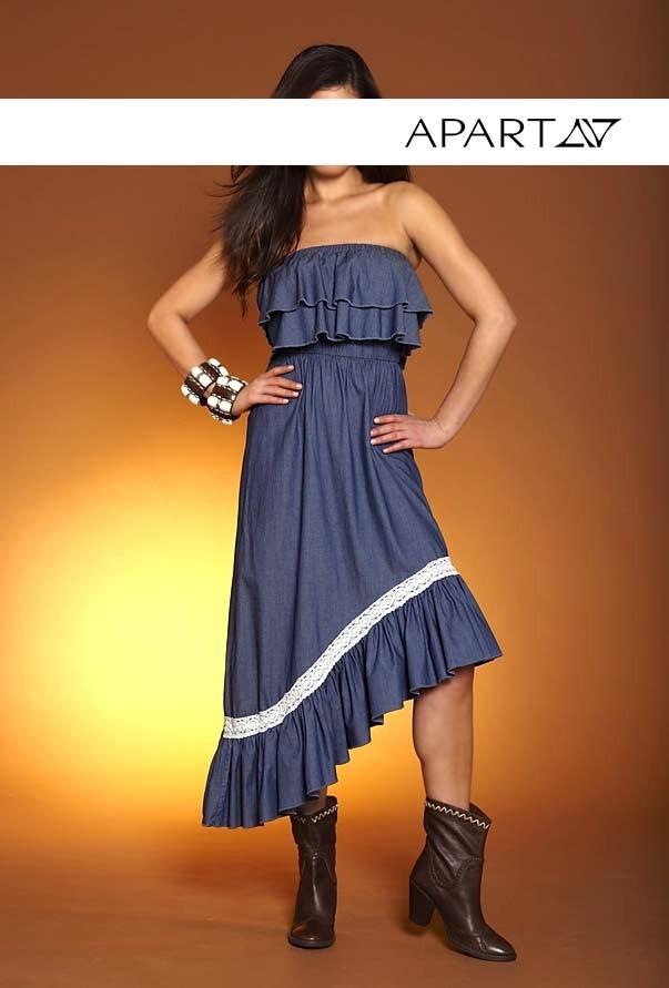 Šaty bandeau, riflové asymetrické šaty APART (vel.40 skladem)