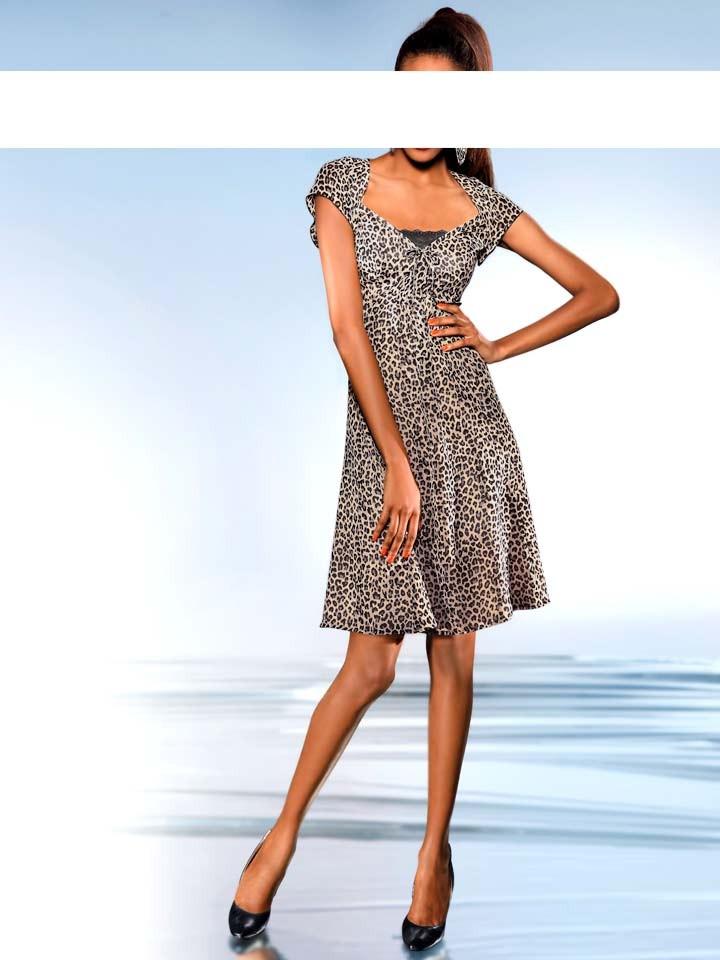 Šaty s leopardím potiskem, dámské šaty S. Madan (vel.36 skladem)