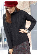 Značkové svetry levně, dámský černý svetr TAMARIS