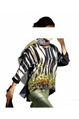 Saténové triko s potiskem, halenka ALBA MODA (40/42 skladem)