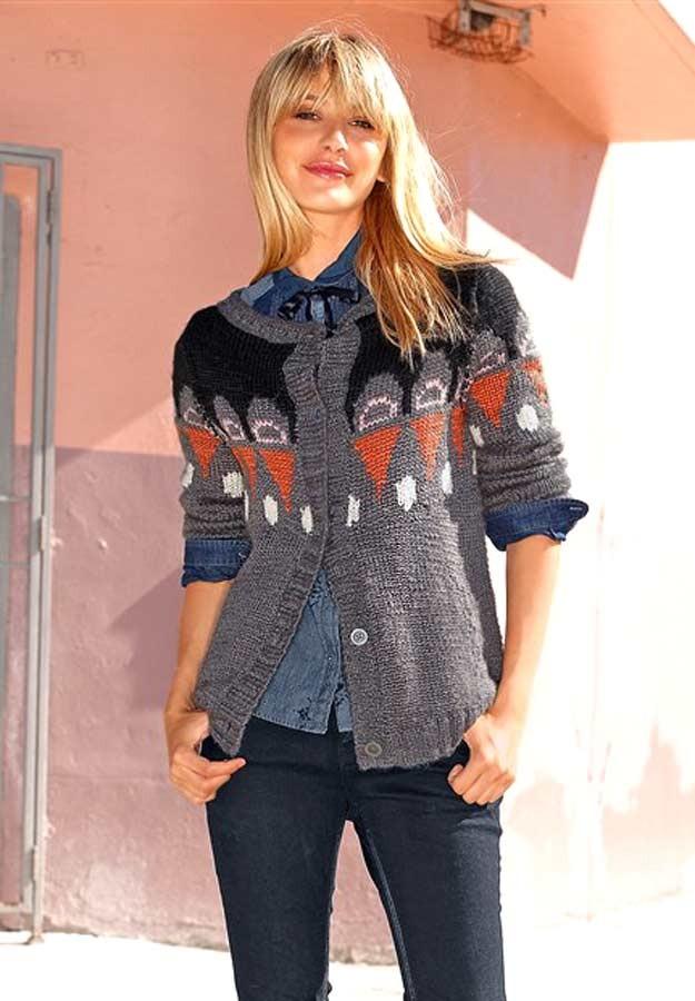 Značkový vlněný pletený svetr, FUGA