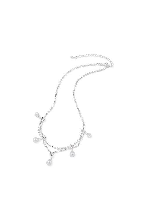 Náhrdelník postříbřený s perličkami (1 ks skladem)