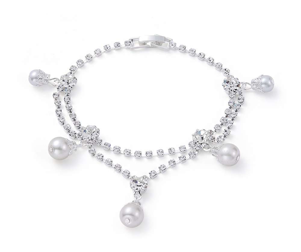Náramek postříbřený s perličkami (1 ks skladem)