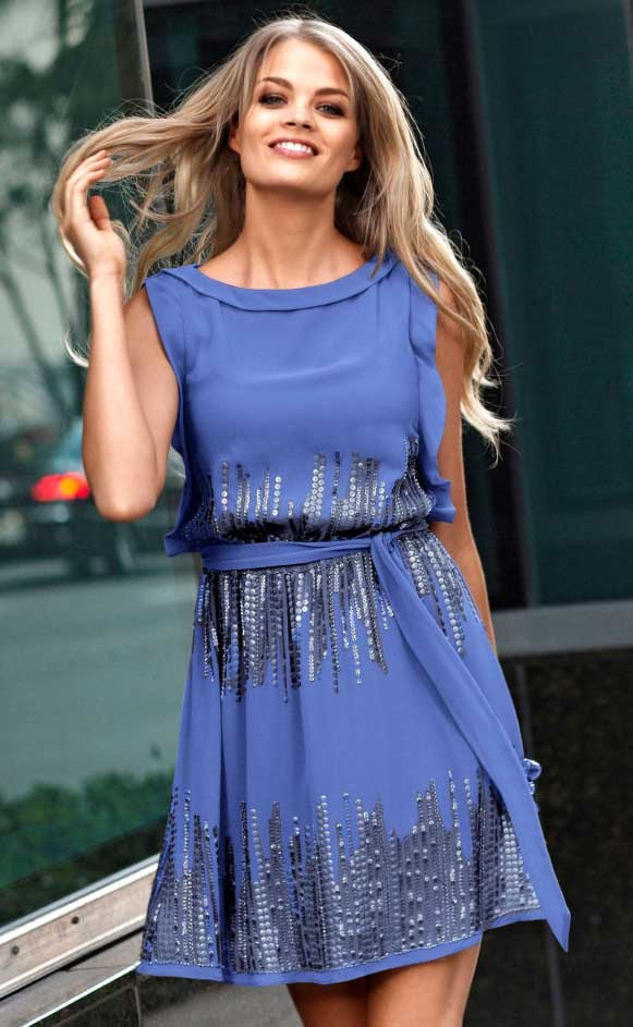 Luxusní šaty VINCE CAMUTO s pajetkami, baja blue (vel.40 skladem)