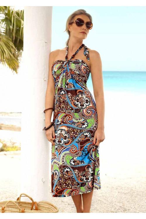 Šaty na dovolenou, šaty k moři, šaty za krk Vivance Collection (vel.38 skladem)