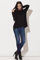 Svetr s rukávy z imitace kůže, dámský delší svetr KATRUS (vel.XL skladem)