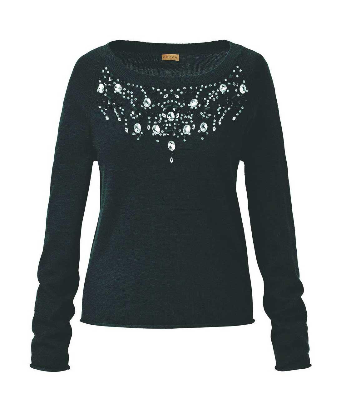 Luxusní svetry levně, značkový černý svetr ODEON