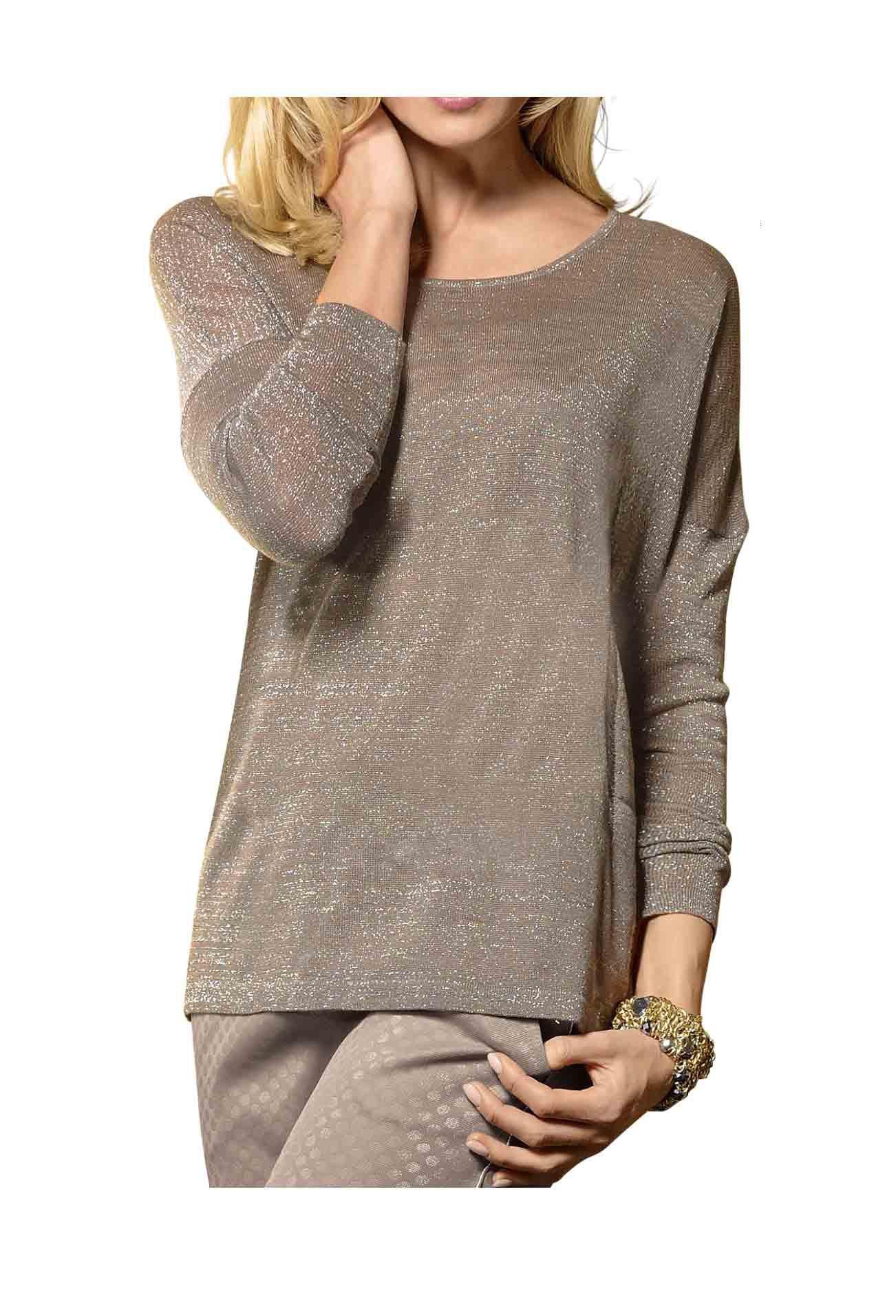 Třpytivý svetr ALBA MODA, svetr s jemným leskem (vel.40/42 skladem)