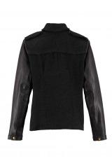 REKEN MAAR černá dámská značková bunda s koženými rukávy