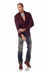 Značkový pánský svetr do V na knoflíky s vlnou JOHN DEVIN (vel.XXL skladem)