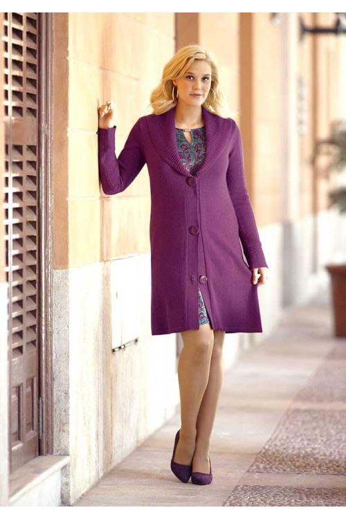 Stylový delší pletený svetr také pro plnoštíhlé, nadměrné velikosti