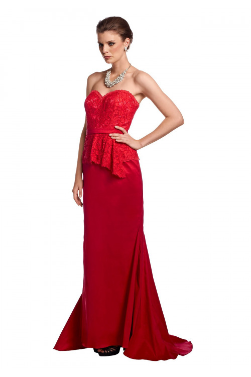 Dlouhé korzetové červené šaty APART (vel.40 skladem)