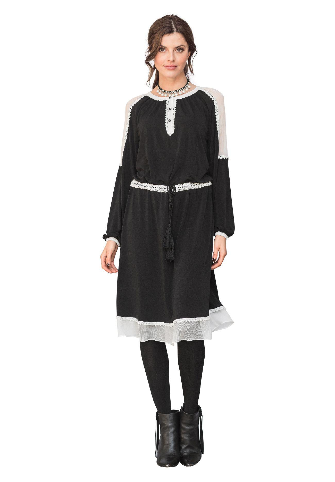 Šaty APART s háčkovanou krajkou hippie styl (vel.44 skladem)