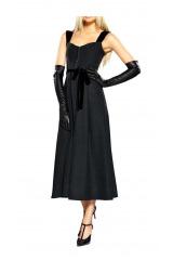 Černé slavnostní korzetové šaty se sametem, šaty APART