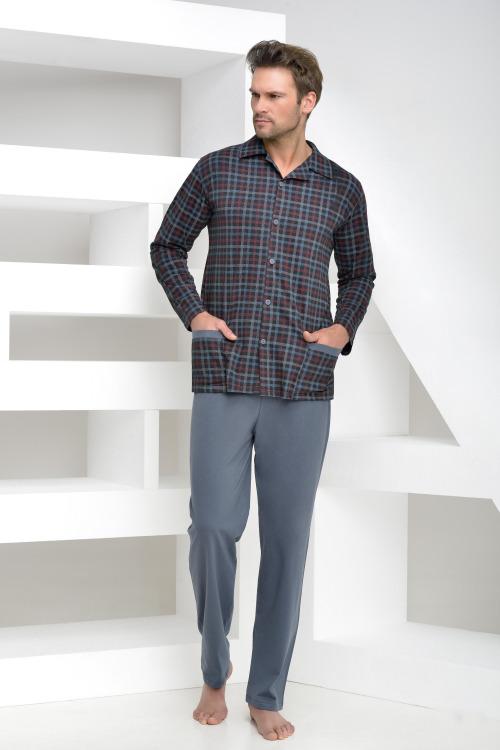 Pánské pyžamo Gabor káro knoflíky nadměrná velikost - modrá (vel.3XL skladem)