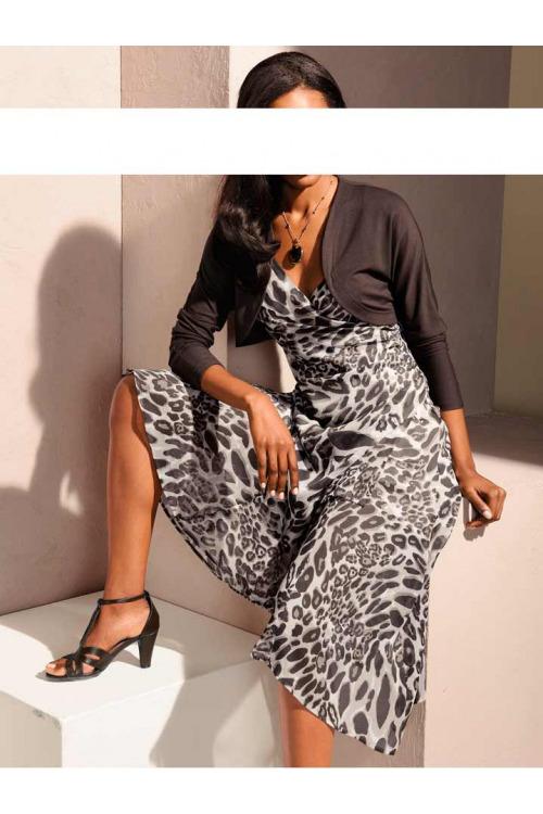 Dlouhé šifonové šaty s leopardím vzorem S. Madan (vel.36 skladem)