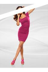 Nařasené strečové růžové šaty, HEINE (vel.40 skladem)