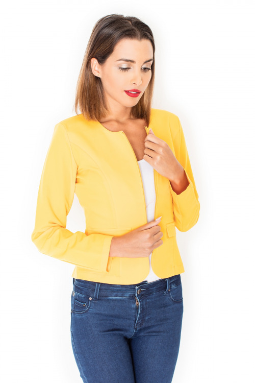 Dámské sako, žluté sako KATRUS na zip (vel.M/38 skladem)