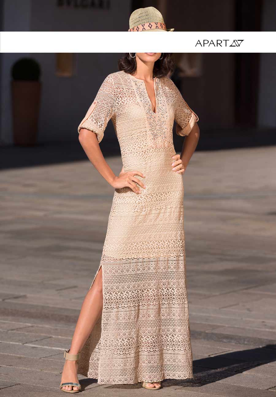 Dlouhé krajkové letní maxišaty APART, krajkové šaty jsou in na léto