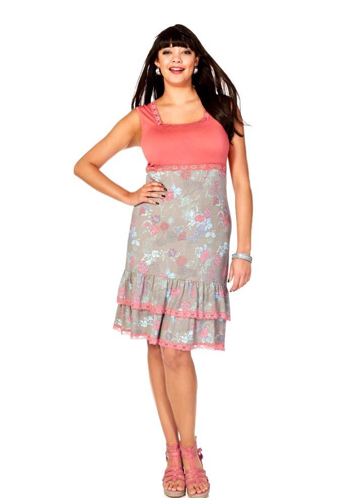 Letní šaty s krajkou SHEEGO, šaty pro baculky (vel.50 skladem)