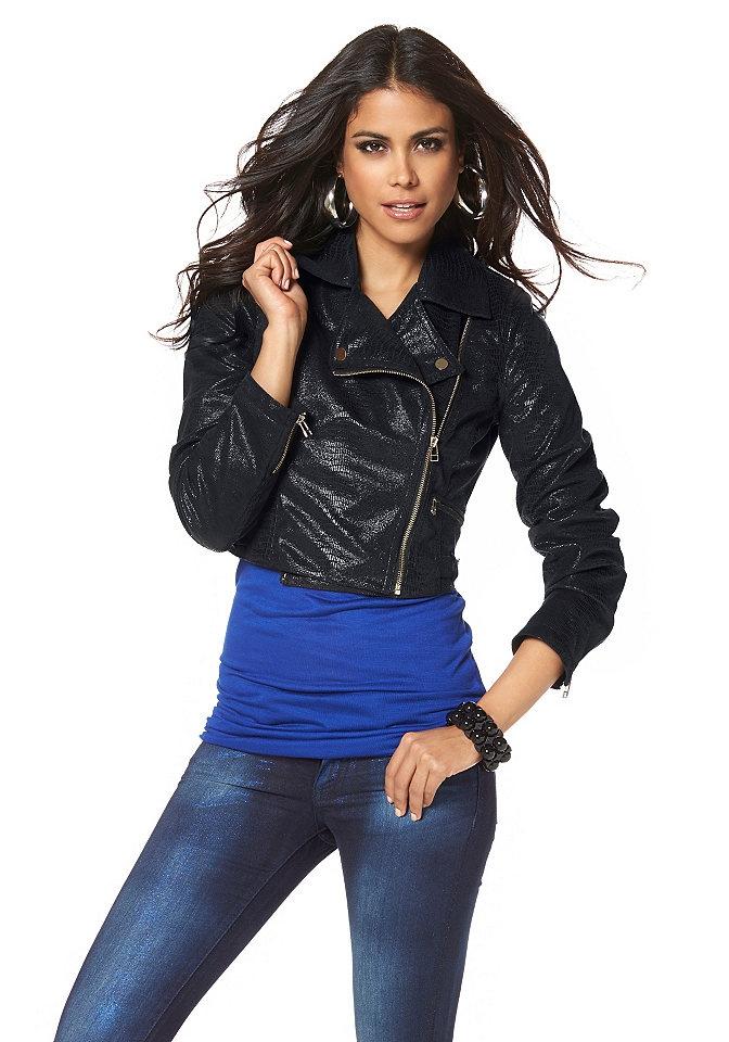 Černá krátká bunda přes šaty, biker bunda Laura Scott (vel.38 skladem)