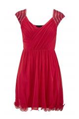 Červené babydoll šaty MELROSE s kamínky na ramenou