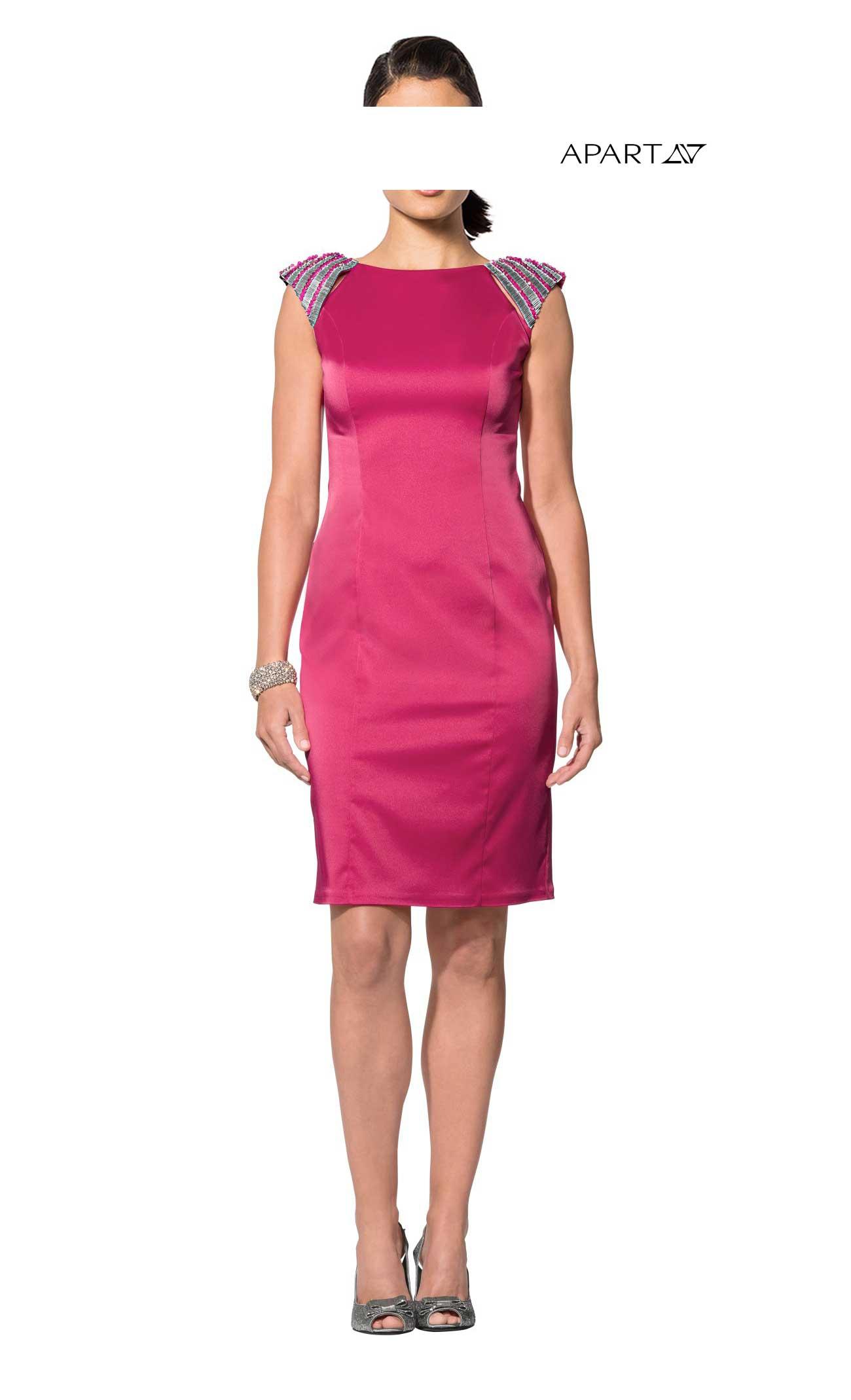 2008fe1571d0 Pouzdrové saténové šaty APART s korálky