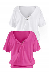 Dvojbalení triko pláž nebo na dovolenou bílé a pink, VENICE BEACH (vel.36/38 skladem)