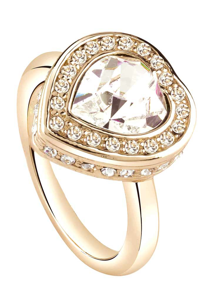 Stylový šperk, prsten GUESS se srdíčkem s kamínky Swarovski (1 ks vel.18 skladem)