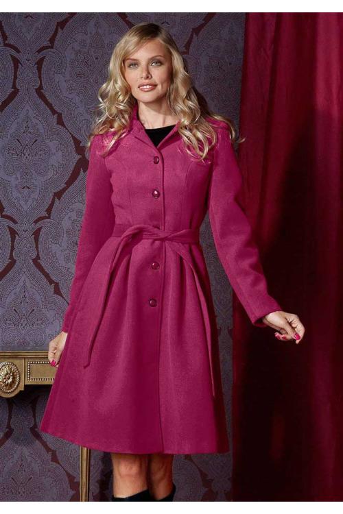 Kabáty, dámský kabát, delší růžový zimní kabát (vel.38,40 skladem)