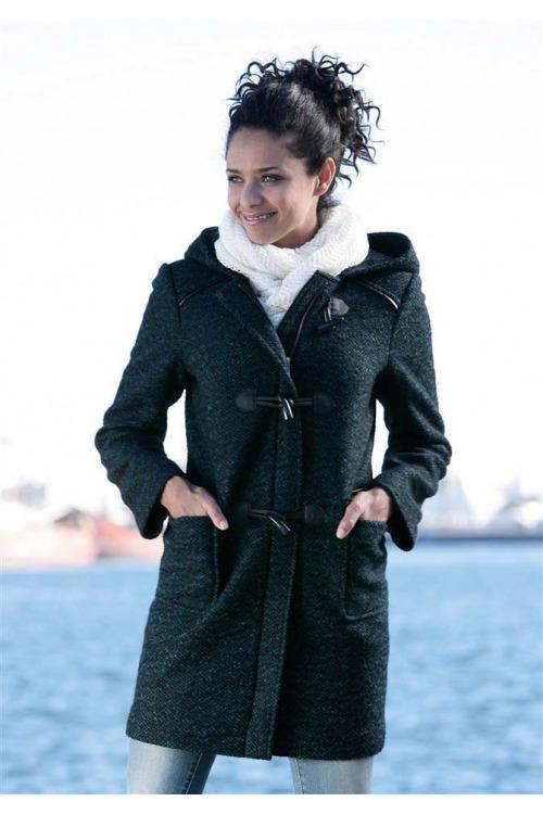Duffle coat teplý vlněný kabát BOYSENS, klasický kabát (vel.36 skladem)