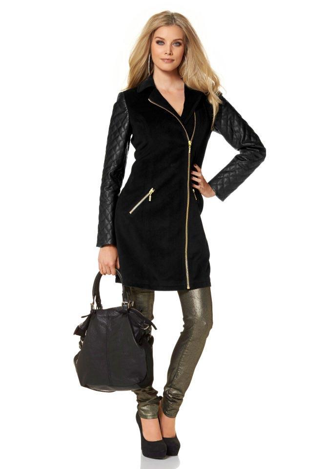Černý delší kabát MELROSE ve stylu biker (vel.34 skladem)