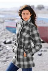 Krátký vlněný kostkovaný kabát (vel.38 skladem)