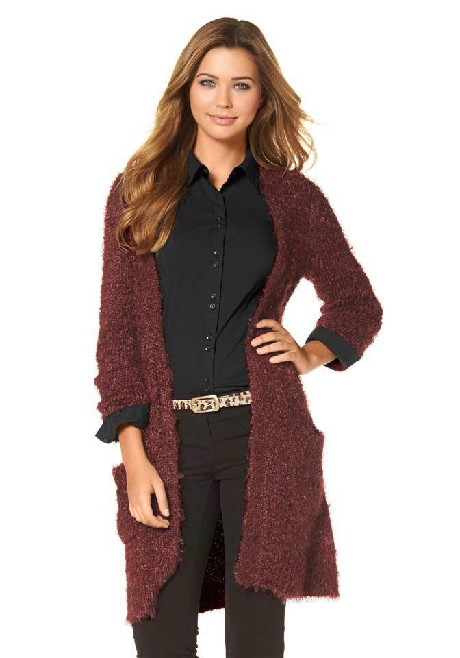 Flaušový pletený dlouhý svetr BUFFALO
