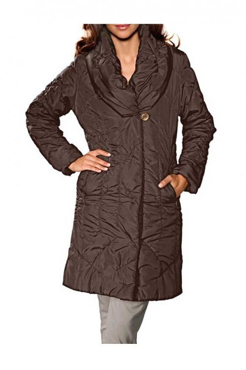 Hnědý prošívaný kabát Ashley Brooke