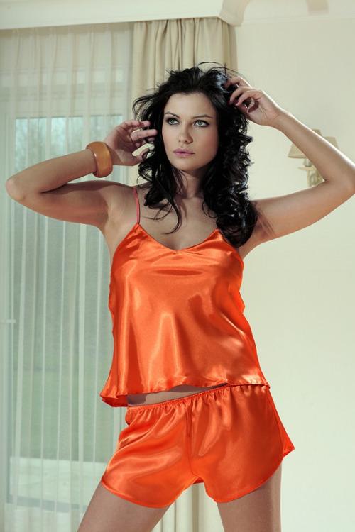 Saténový komplet Karen oranžový (vel.L skladem)