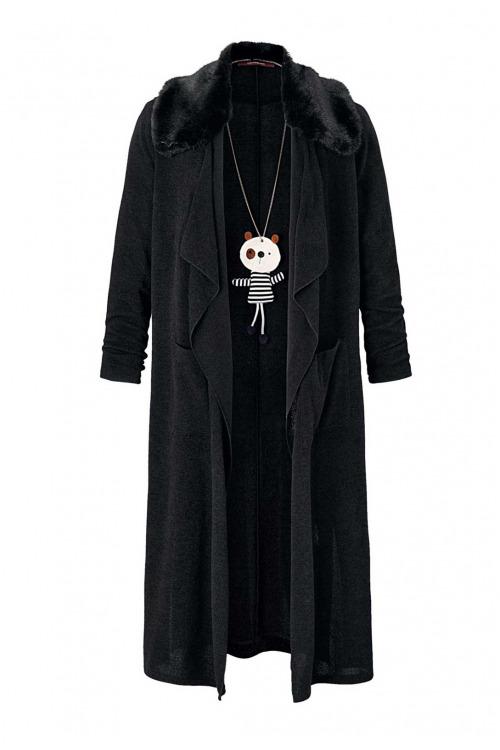 Značkový černý pletený kabát se tkanou kožešinou, La Fee Maraboutee