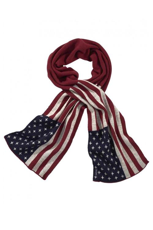 Značkový zimní šál Wrangler, šála americká vlajka