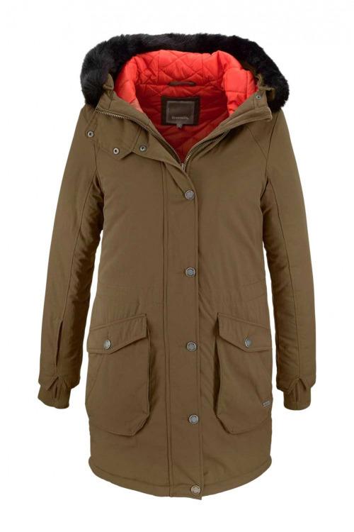 BENCH, khaki zimní dámská parka se tkanou kožešinou