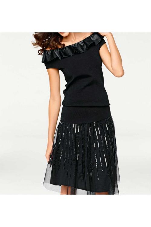 Černá dámská tylová sukně s flitry, Ashley Brooke (vel.46 skladem)