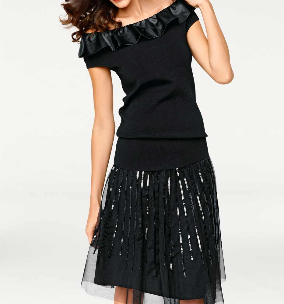 76a4e92f356 Černá dámská tylová sukně s flitry