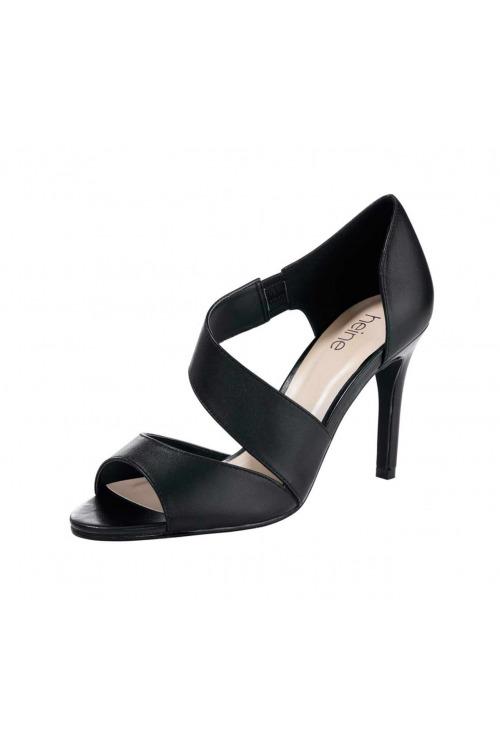 Sandálky, černé společenské sandálky, Heine