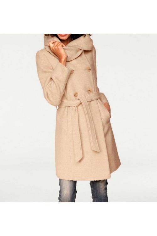 Dámské kabáty levně, kvalitní vlněný kabát s objemným límcem, Linea Tesini (vel.38 skladem)