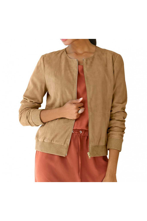 ALBA MODA, kožený bluzon, bluzon z kozí velurové kůže