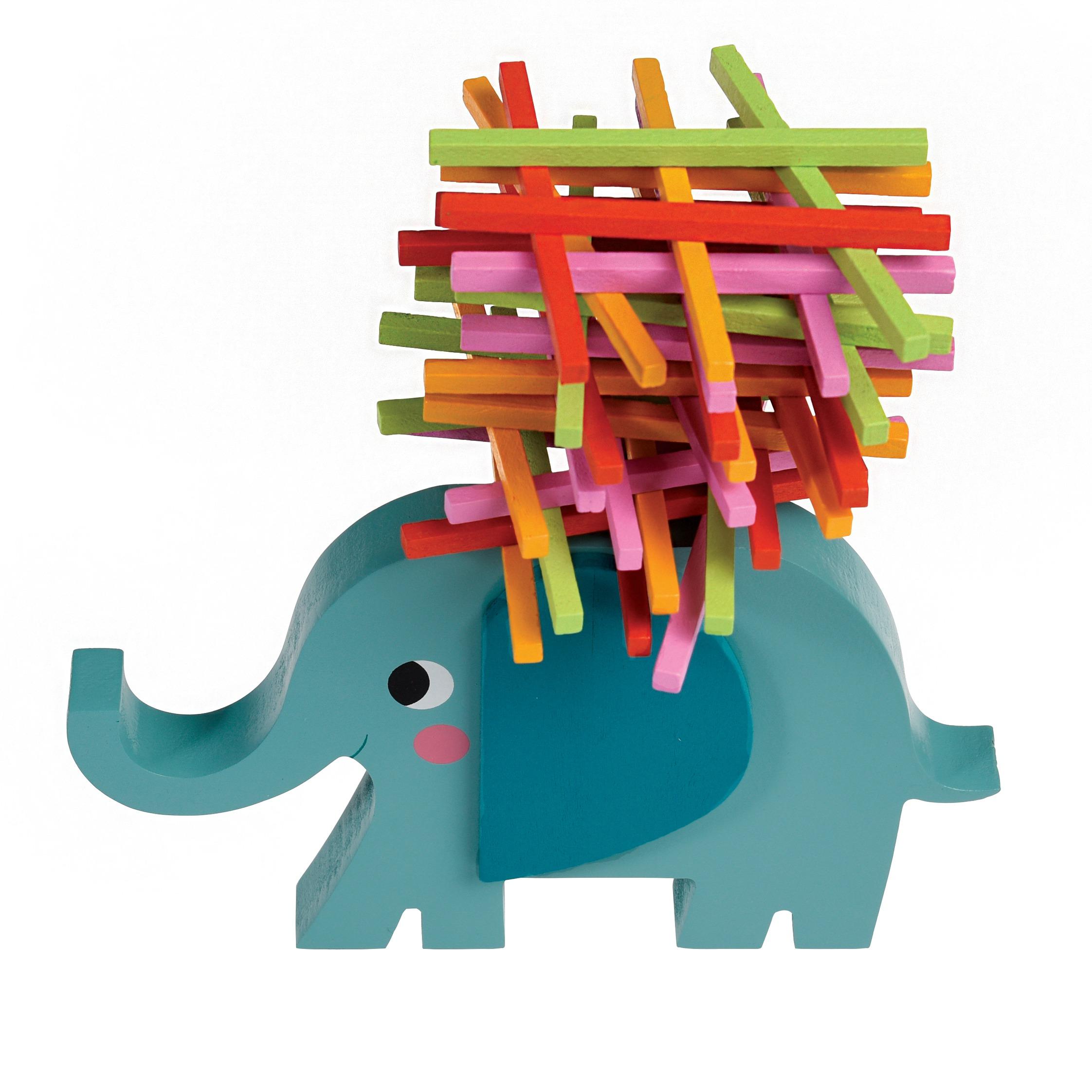 Dřevěná hra slon Elvis, stohovací hra