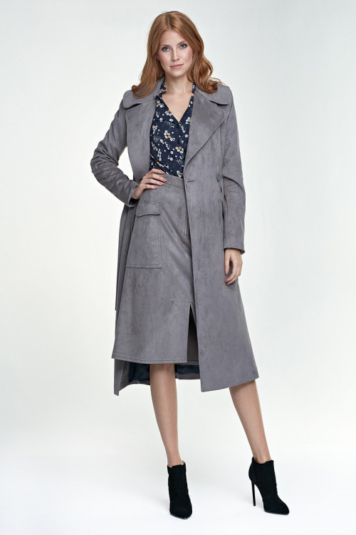 Dlouhý dámský kabát, dámský dlouhý plášť s velkým límcem